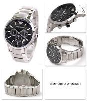 NEW EMPORIO ARMANI AR2434 MEN'S STAINLESS STEEL BLACK DIAL MEN'S WATCH