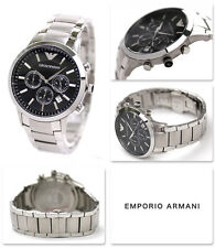 NEW EMPORIO ARMANI AR2434 MEN'S STAINLESS STEEL BLACK DIAL MEN'S WATCH