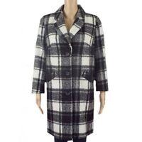 Ex Debenhams Winter Coat Black White Check Button Single Breasted Size 8-18 NEW