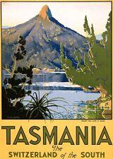 "Vintage Travel Poster CANVAS PRINT Tasmania Switzerland of the South 24""X16"""