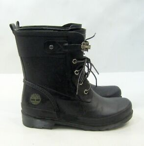 3769R  Timberland BLACK Rubber Rain Boots ANKLE Lace-Up Women Size  8