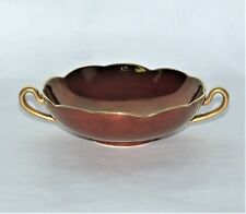 "Carlton Ware Rouge Royale Candy Nut Dish Gold Handles Scalloped Edge 5"" Across"