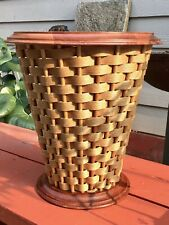 VINTAGE BEREA COLLEGE WASTEBASKET KENTUCKY WOODCRAFT HANDCRAFTED W/ WOVEN CANE