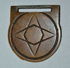 Vintage Brass STAR Geometric Cross Nautical Pocket Watch FOB Rare