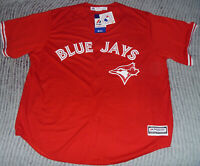 AUTHENTIC Majestic TORONTO BLUE JAYS Red CANADA DAY Jersey 2XL/XXL CoolBase Sewn