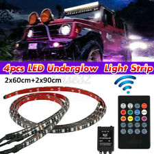4PCS RGB LED Strip Under Car Tube Underglow Underbody System Neon Light Kit