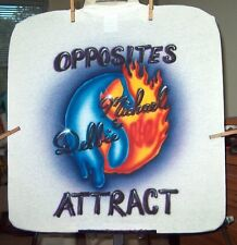 Airbrushed T-shirt FIRE WATER OPPOSITES ATTRACT all szs