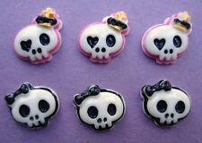 20 Princess Skull Halloween Resin Craft Flatback Button/Black Bow/Pink Crown B21