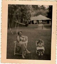 Old Vintage Antique Photograph Mom and Little Girl Sitting in Chairs in Yard