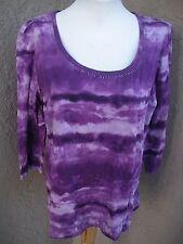 Chico's Bright Violet Tie-dye Beaded Neckline Top Purple Sz 3 XL 16 18