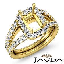 Diamond Engagement Vintage Ring 1Ct 14k Yellow Gold Emerald Semi Mount Halo Pave