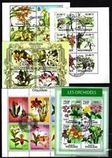 Orchidées lot de 10 séries oblitérés en feuillet
