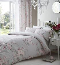 Gris Rose Floral Rose Grande Taille Mélange de coton couette réversible