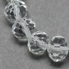 Glasschliffperlen 25 Stück 8 x 6 mm - Abakus - kristallklar ohne Beschichtung