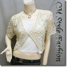 Sequined Embroidery Shrug Glam Bolero Top Beige M