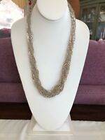 Vintage muted silver woven chain long sweater necklace with hook clasp