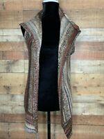 Cato Womens Multi Color Long Open Front Cardigan Sweater Vest Sz XS