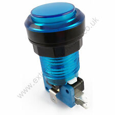 28mm Round 12v LED T10 Bulb Arcade Button & Microswitch (Blue) - MAME, JAMMA
