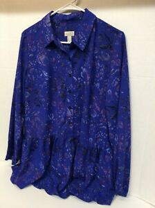 Logo By Lori Goldstein Tunic Top XS Electric Blue A309821 Sold out on air!