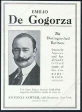 1914 Emilio de Gorgorza photo opera singing recital tour booking trade print ad