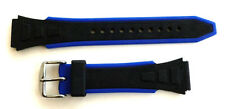 18mm BLUE AND BLACK RUBBER SPORT DIVERS WATCH BAND / STRAP