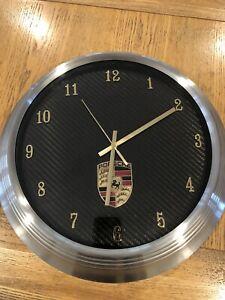 Porsche Wall Clock With Original Porsche Bonnet Badge Set In F1 Carbon