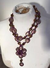 Vintage Butler & Wilson glass flower necklace Fresh Water Pearls Purple Gold