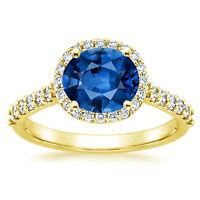 Echt 2.65 Karat Umwerfend Diamant Blauer Saphir Ringe Solid 14K Gelbgold GRÖSSE