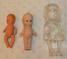 "3 VTG Glass/Ceramic Dolls-Kerr & Hinz Baby, Pudgie 4.5"" & 6"" Clear Dolls w/BOXs"