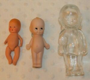 "3 VTG Glass/Ceramic Dolls-Kerr & Hinz Baby, Pudgie 4.5"" & 6"" Clear Dolls w/BOXs"