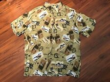 Paradise Gold Hawaiian Shirt XL, Maps Pattern, Short Sleeve Button Down