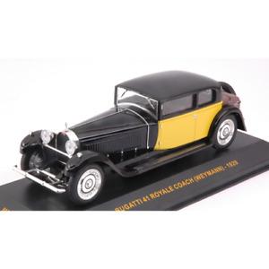 BUGATTI 41 ROYALE WEYMANN 1929 BLACK YELLOW 1:43 Ixo Model Auto d'Epoca