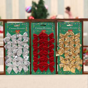 12pcs 5cm Christmas Tree Ribbon Bows Ornaments for Xmas Tree Hanging Decoration
