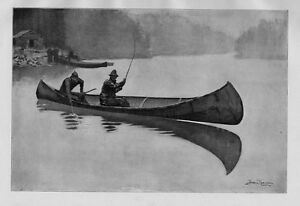 FREDERIC REMINGTON SPORTSMEN TROUT FISHING FROM CANOE FISH ON THE LINE NET CABIN