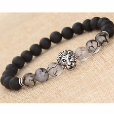 Fashion Men Gold Silver Lion Beaded Cuff Charm Bangle Bracelet Black Lava Stone