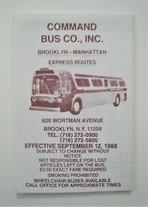 Vintage 1988 Command Bus Co. Bus Timetable Brooklyn Manhattan Express New York