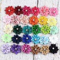 "10/160Pcs 1"" Satin Ribbon Flowers Bows w/Rhinestone Appliques Sewing DIY Craft"