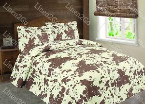 3 Piece Cowhide Cow Print Quilt Rustic Western Bedspread Comforter Bedding Set!