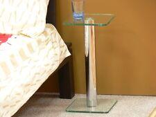 moderner Beistelltisch Stelltisch Nachttisch Glas Chrom 25x25cm / Höhe 50cm