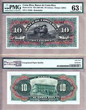 Gorgeous Pair of Notes: Costa Rica 1901-08/14 (ND) 10 & 20 Pesos PMG CH UNC63/64