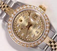 Rolex Lady 26mm Datejust 2 Tone 18k Diamond Bezel-Champagne String Diamond Dial