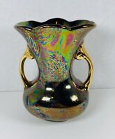 "Vintage Pearl China Company Hand Decorated 22k Gold Iridescent Glaze Vase 6"""