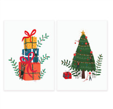 Contemporary Xmas Tree & Presents Stack 20 Premium Christmas Cards in 2 Designs