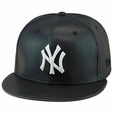 "New Era New York Yankees Snapback Hat Cap Black PU Leather/WHITE ""NY"""