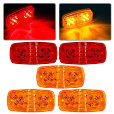 "5pcs 2"" x 4"" Amber/Red Dual Bulls Tiger Eye Marker Clearance Lights 10 Diodes"