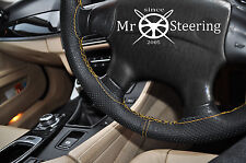 FITS RENAULT MEGANE 95+ PERFORATED LEATHER STEERING WHEEL COVER YELLOW DOUBLE ST