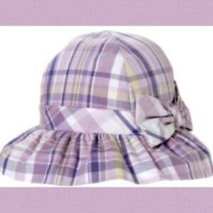 "NWT Infant Girls 18-24 mo Janie & Jack ""TEA TIME"" Cotton Lavender Plaid SUNHAT"
