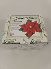 Andrea by Sadek Red Poinsettia Flowers 17216 Hand Painted Porcelain Art Nib
