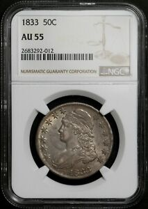 1833 Capped Bust Half Dollar - NGC AU55 - Overton O-103 - 90% Silver
