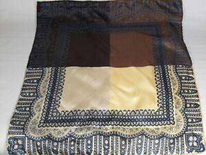 ASHEAR ITALIA %100 Silk Scarf Pocket Hand Rolled MULTI COLOR BRN BLU PAISLEY🔥